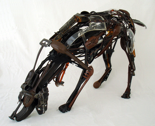 plastic dog sculpture