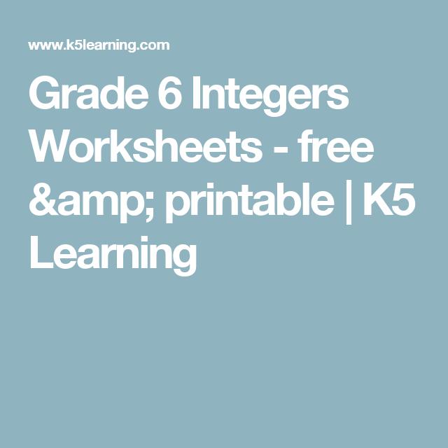 Grade 6 Integers Worksheets - free & printable | K5 Learning ...