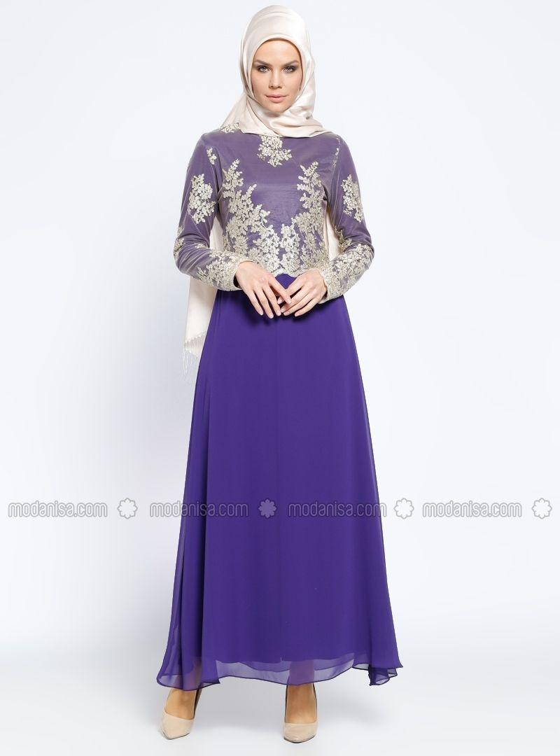 8908cea1c6 Purple - Fully Lined - Crew neck - Muslim Evening Dress - BÜRÜN ...