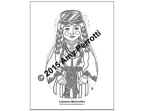 Lebanese Matryoshka Coloring Sheet Printable File Coloring
