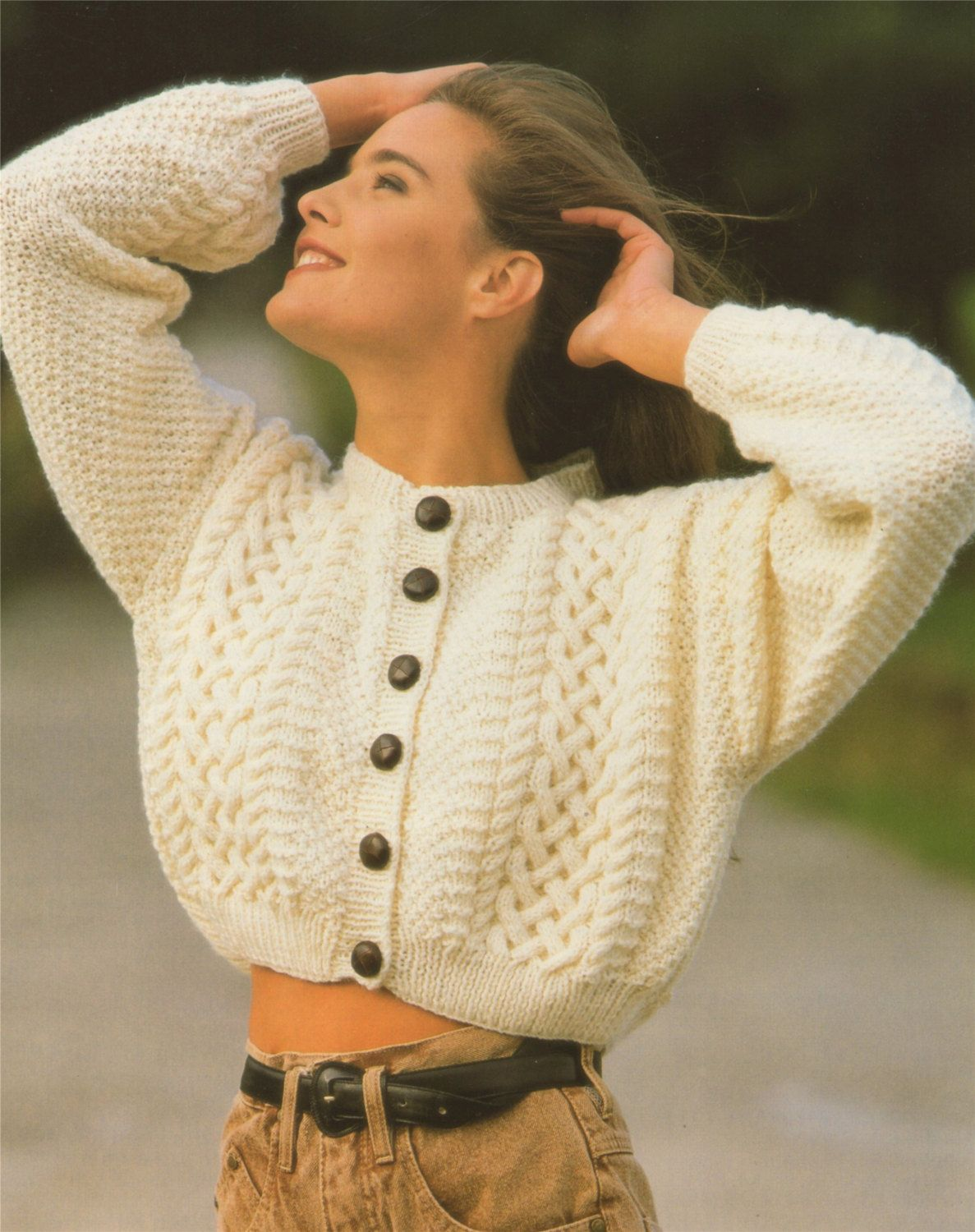 Womens Aran Crop and Long Cardigan PDF Knitting Pattern . Ladies 28 ...