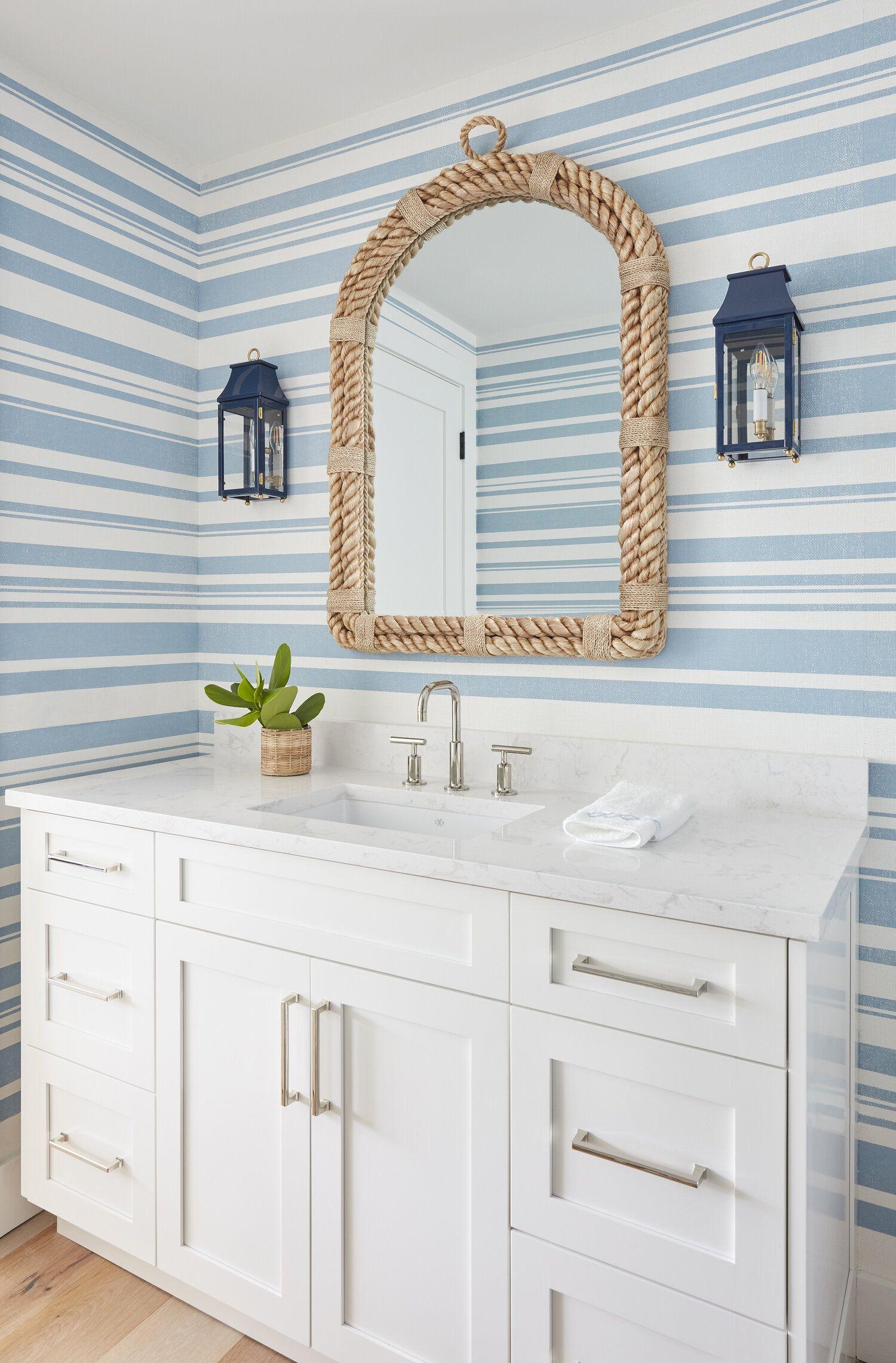 House Tour A Serene Blue + White Beach House Interior
