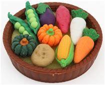 Iwako erasers corn carrot pumpkin vegetable basket set 11 pieces from Japan