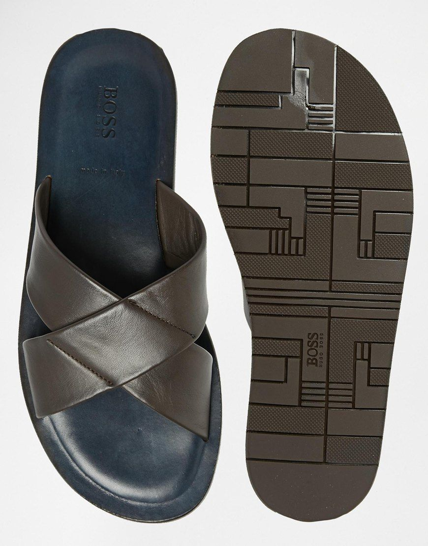 e3a7140893465 Hugo Boss | Boss Black Hamper Cross Over Leather Sandals at ASOS ...