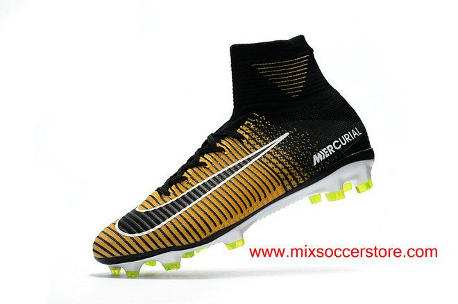 hot sale online ebaf0 6d007 2017 Nike Mercurial Superfly V FG Flyknit ACC Yellow Black Firm-Ground Soccer  Cleat