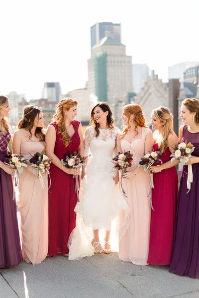 5148149b1b5 Mix-and-match burgundy and blush bridesmaids idea - floor-length red