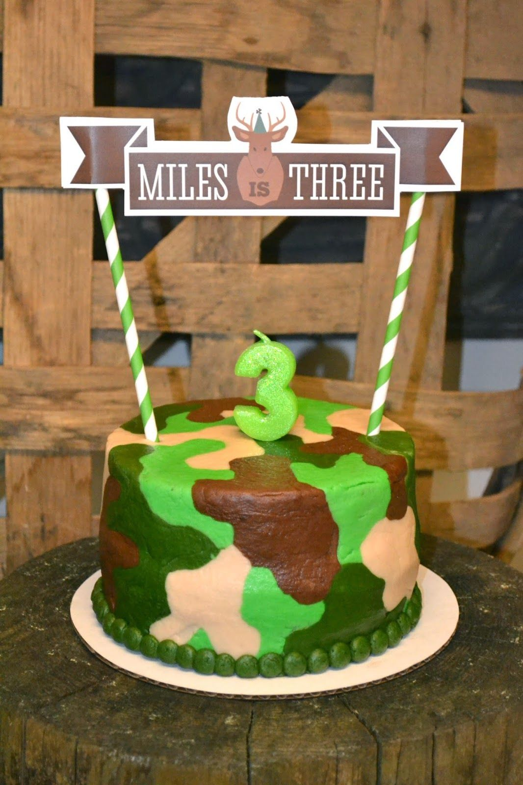 Obsessed With This Camouflage Birthday Cake And Custom Cake Topper