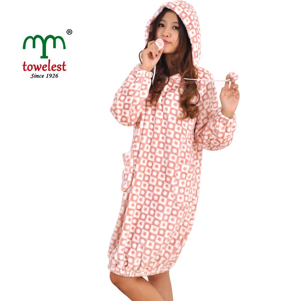 MMY Warm Coral Printing Bathrobes Women's Home Robes & Lady Hooded Sleepwears #MMY #Robes