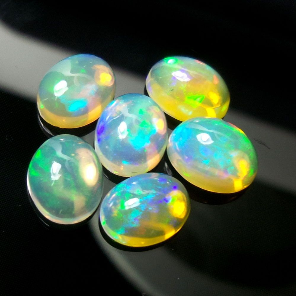 9x7 Natural AAA Ethiopian Welo Fire Opal Oval 7.2 Carat Cabochons 6 Pieces Lot #Unbranded