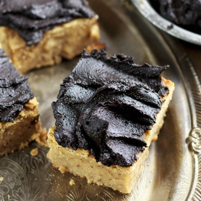 Peanut Butter Protein Blondies with Fudge Frosting | eat healthy eat happy