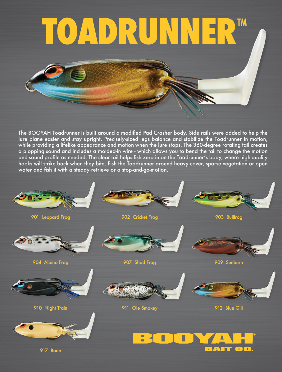 Booyah toadrunner 2018 color chart fishing lure color for Fishing bait ark