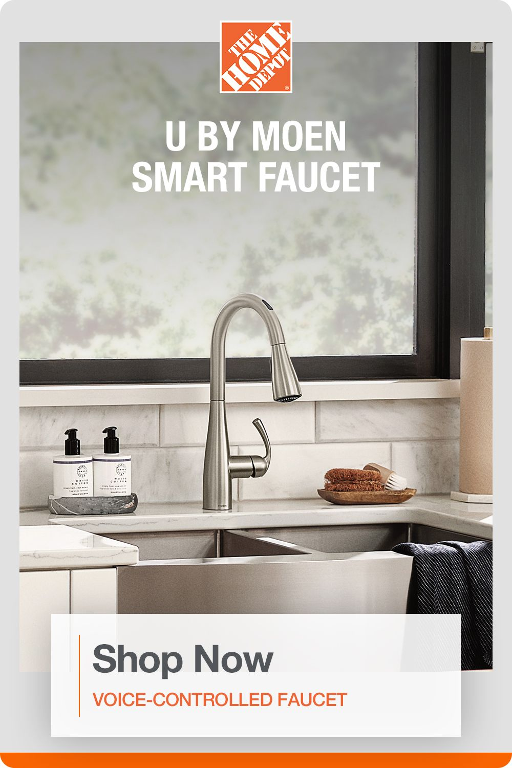 Moen U By Essie Single Handle Pull Down Sprayer Smart Kitchen Faucet With Voice Control In Spot Resist Stainless 87014evsrs The Home Depot In 2020 Smart Kitchen Kitchen Faucet Smart Faucet