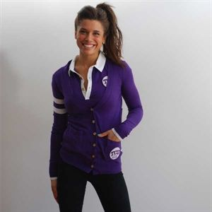 TCU polo and purple cardigan - making purple on purple look good!