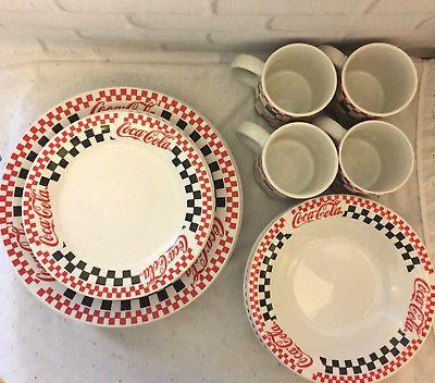 Coca Cola Gibson Housewares 16 Piece Checkered Dinnerware Set & Coca Cola Gibson Housewares 16 Piece Checkered Dinnerware Set | Coca ...