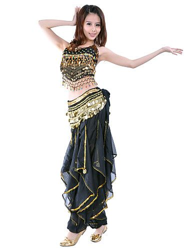 9d8e8aefe2 Belly Dance Outfits Women s Performance Training Chiffon Beading Coins  Sequins 2 Pieces Sleeveless Natural Top Pants 913108 2018 – ¥2