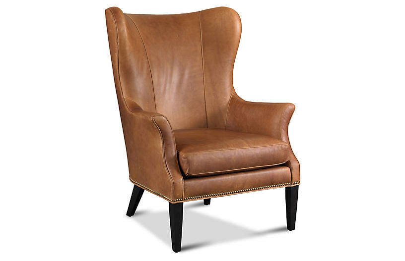 Incredible One Kings Lane Tristen Wingback Chair Saddle Leather Short Links Chair Design For Home Short Linksinfo