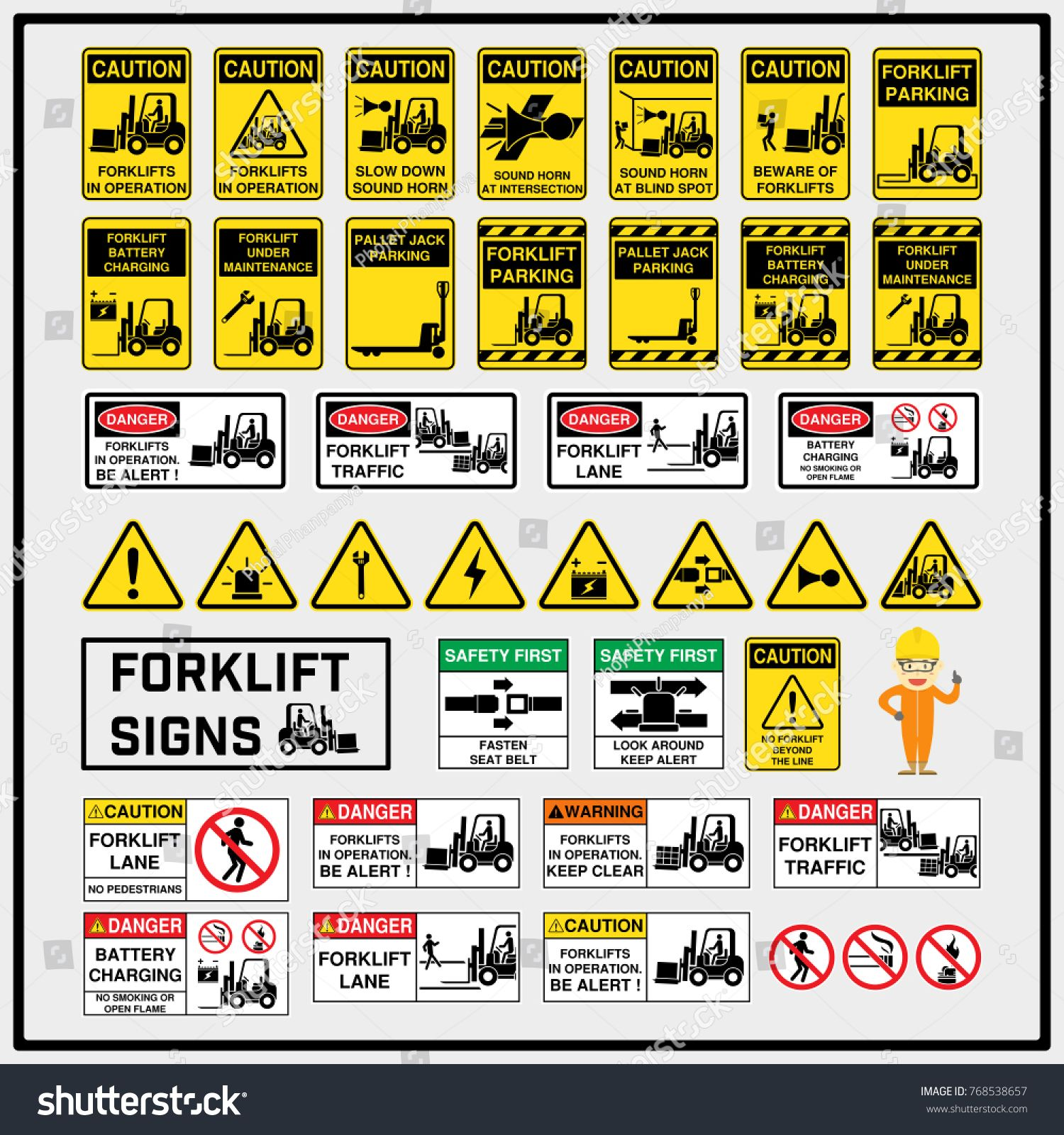 Set Of Safety Caution Signs And Symbols Of Forklift