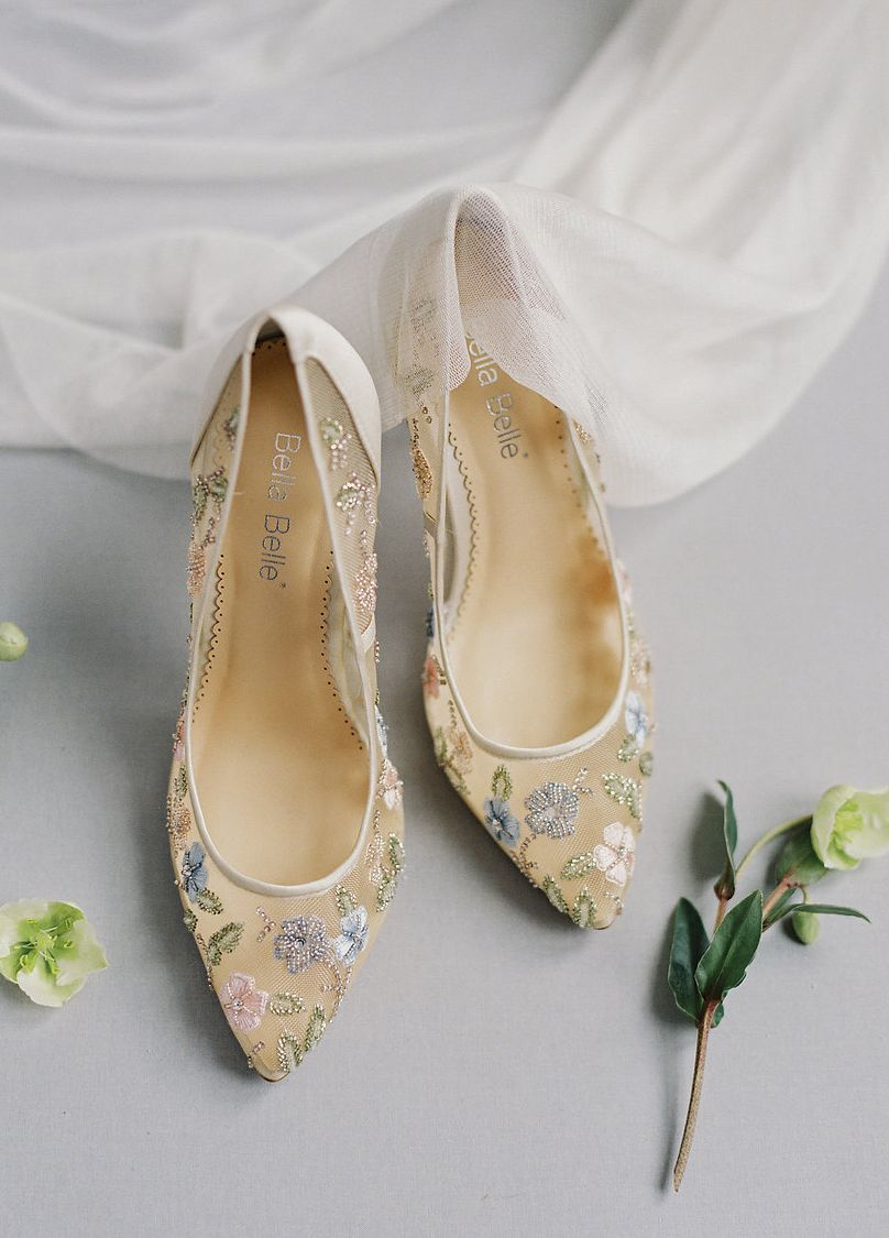 Flower Embellished Embroidered Wedding Evening Heels Sparkly