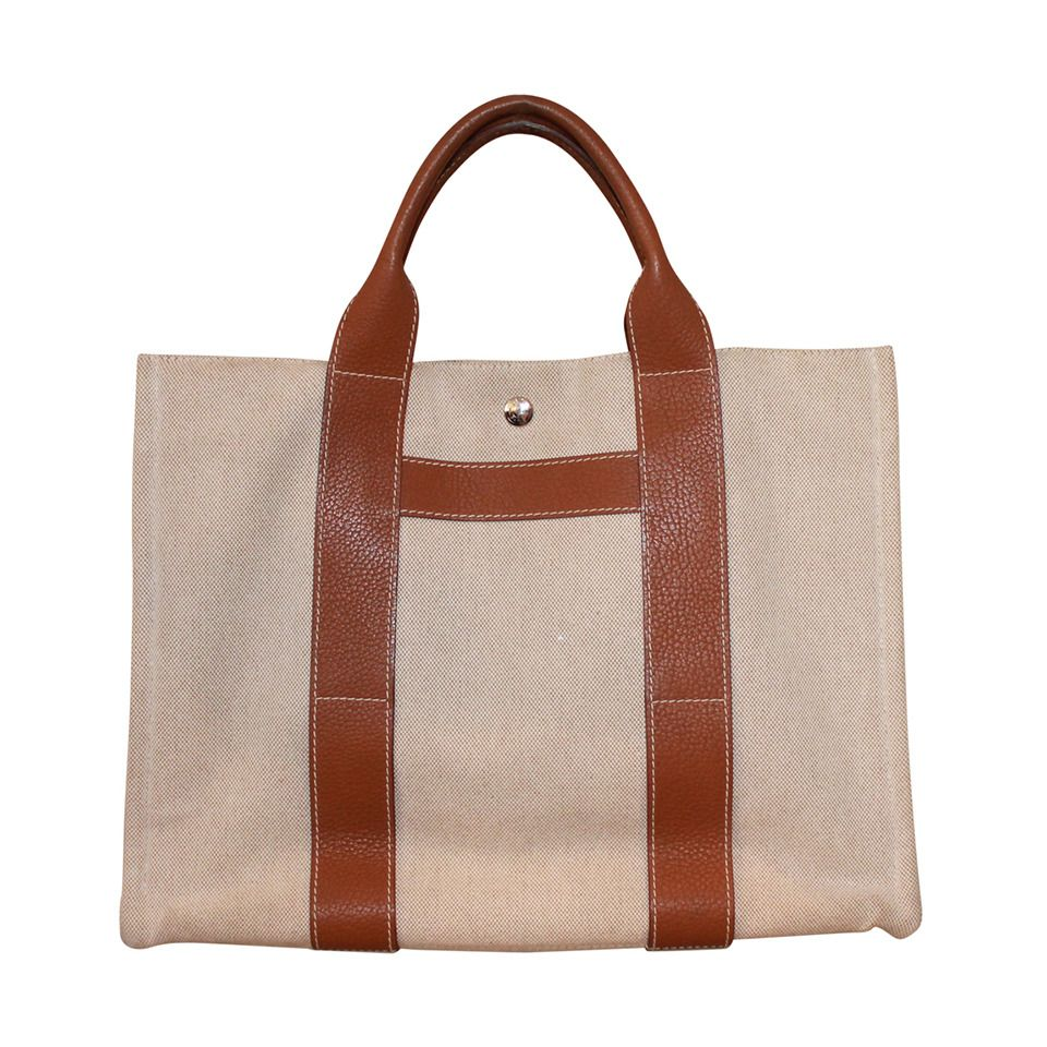 0553b5ade3ac Hermes Canvas and Gold Leather Tote Bag