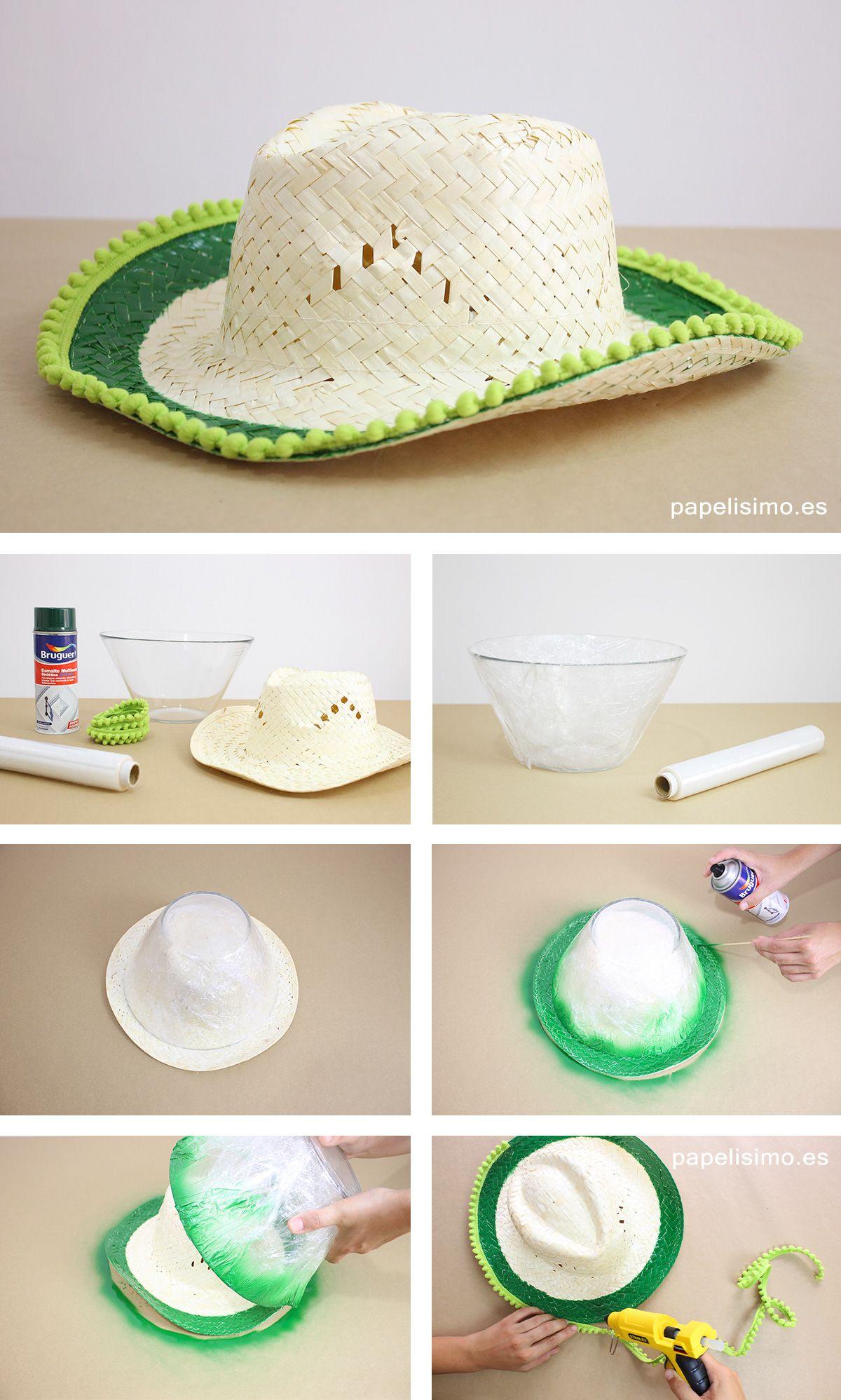 Sombrero-de-mimbre-para-playa-pompones-diy-pompons   Papelisimo ...