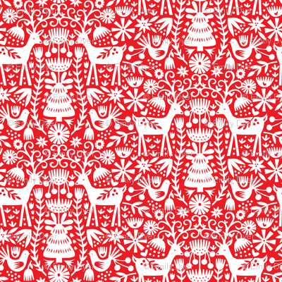 Colorful Fabrics Digitally Printed By Spoonflower Nordic Reindeer Red And White Christmas Prints Scandinavian Folk Art Scandinavian Christmas