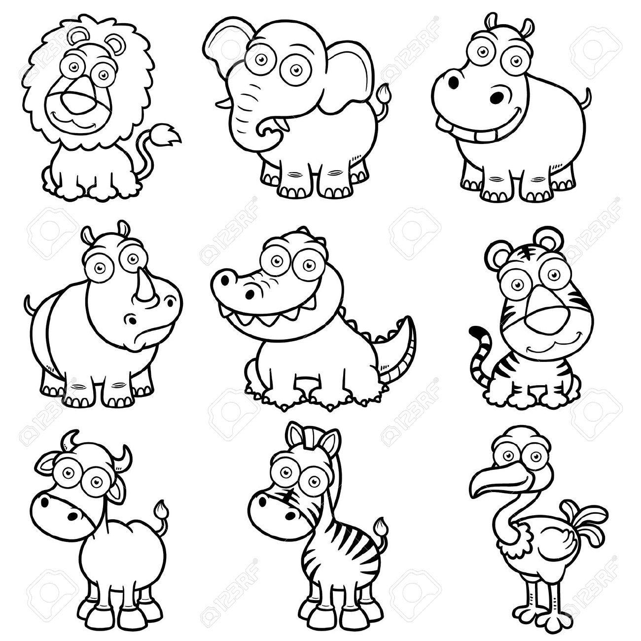 19979260-Ilustraci-n-vectorial-de-los-animales-salvajes-caricaturas ...