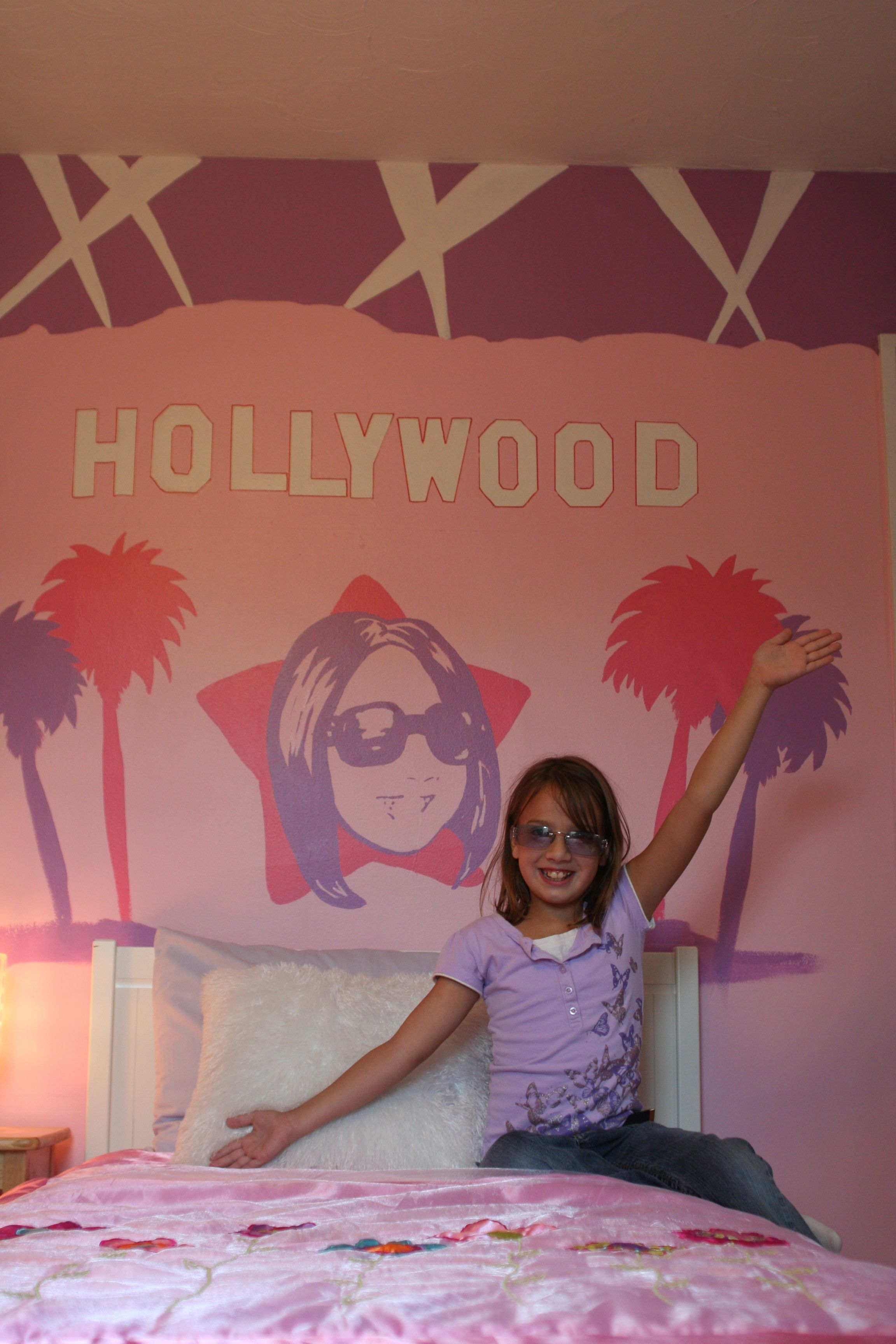 Girls bedroom makeover pink and purple hollywood themed room