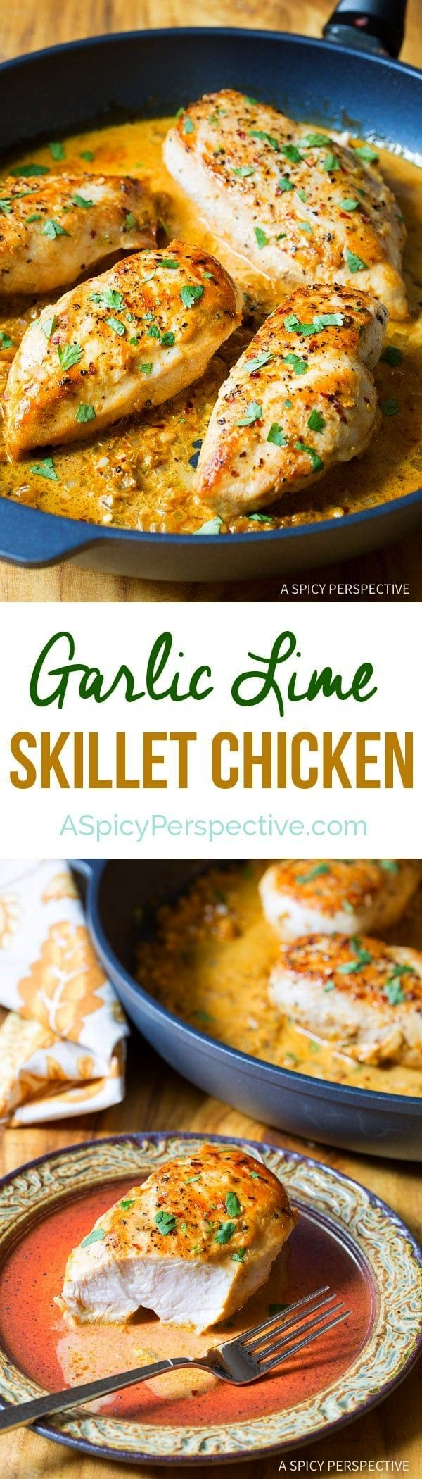 Lime Skillet Chicken Recipe: An easy dinner for any night of the week. Fresh simple ingredients and