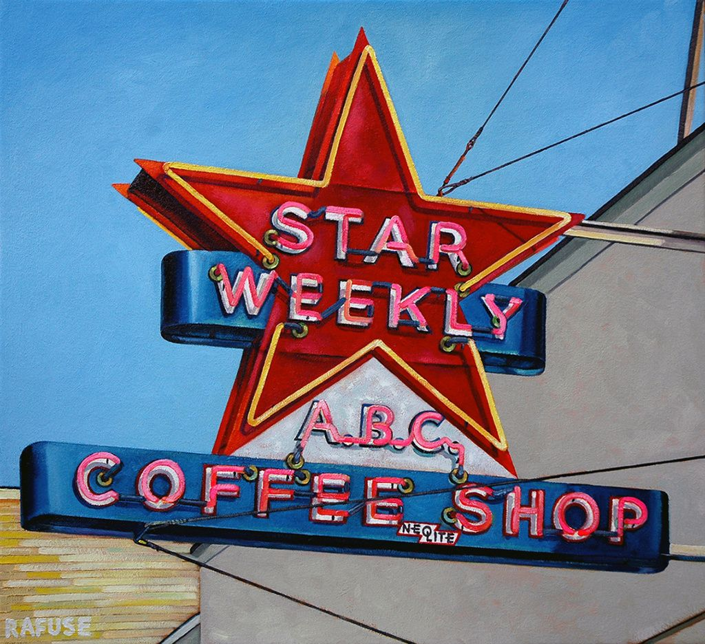 """Will Rafuse - ABC COFFEE SHOP A.K.A STAR WEEKLY, 2015 ;  Oil on canvas  22"""" x 24"""""""