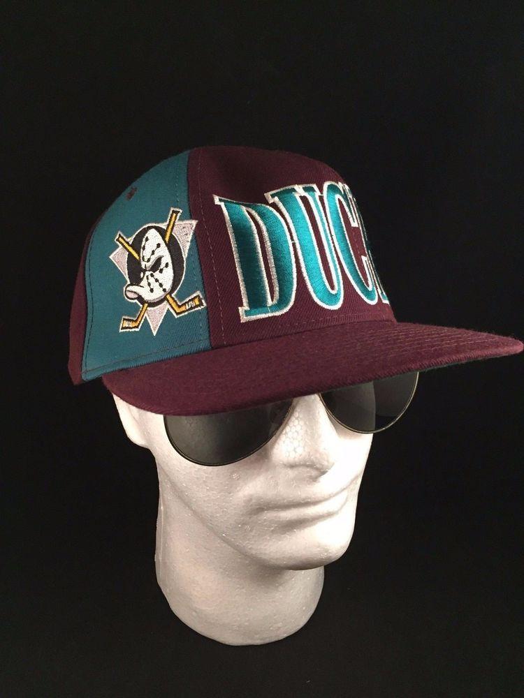 5bd2a04931c Vintage ANAHEIM MIGHTY DUCKS Starter Snapback Hat Cap 90s Block Script NHL  MINT  Starter  AnaheimDucks