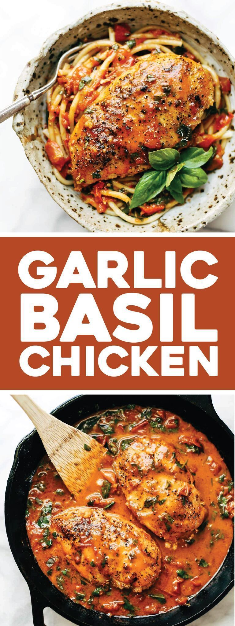 Chicken with Tomato Butter Sauce Garlic Basil Chicken - you won't believe that this easy real food recipe only requires 7 ingredients like basil, garlic, olive oil, tomatoes, and butter. | Garlic Basil Chicken - you won't believe that this easy real food recipe only requires 7 ingredients like basil, garlic, olive oil, tomatoes, and butter. |