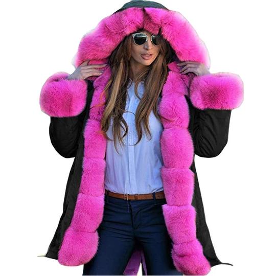 ISHOWTIENDA Parka Women 2018 Faux Fur Winter Coat Casual Female JacketsHooded Long Parka Overcoat Winter Women Coat #neiged#39;hiver