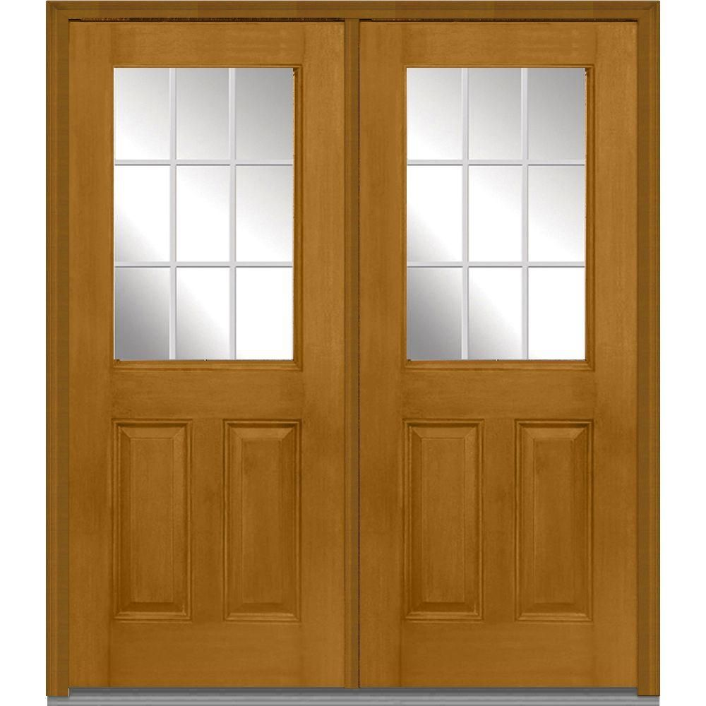 Milliken Millwork 72 In X 80 In Classic Clear Glass Gbg 1 2 Lite Finished Mahogany Fiberglass Double Prehung Front Door Fruitwood Double Doors Exterior Wooden Window Frames Oak Front Door