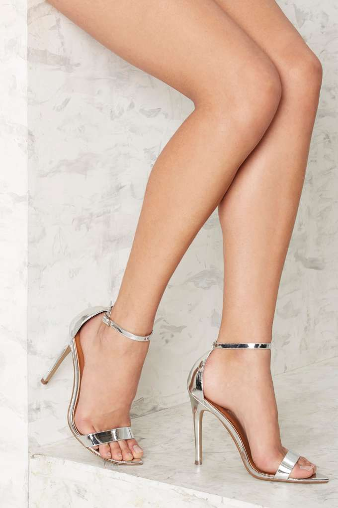 Nasty Gal Take a Hint Stiletto Heel - Silver - Shoes | Heels ...