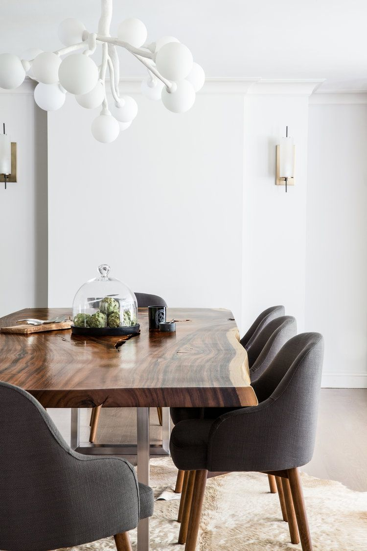 Prime Modern Wood Slab Dining Room Table Paired With Charcoal Beutiful Home Inspiration Ommitmahrainfo