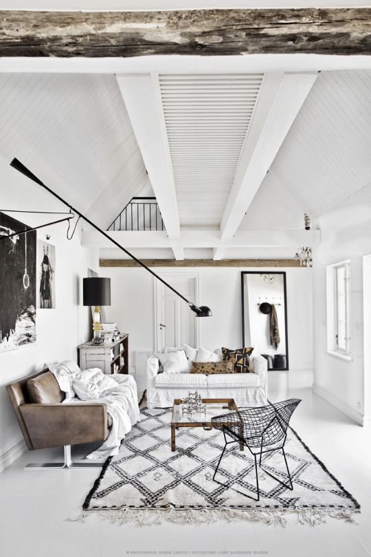 Modern Meets Rustic In The Apartment Of Swedish Interior Stylist Jenny  Hjalmarson Boldsen As Aging Ceiling Boards Hang Exposed Over This Striking  ...