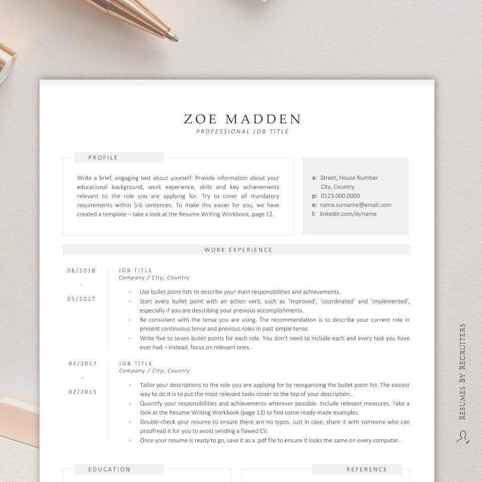 Resume Template for Finance / Modern Business CV Instant