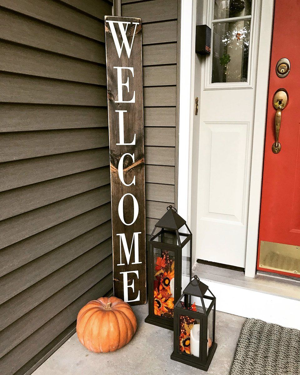 Vertical Porch Welcome Sign #fallfrontporchdecor