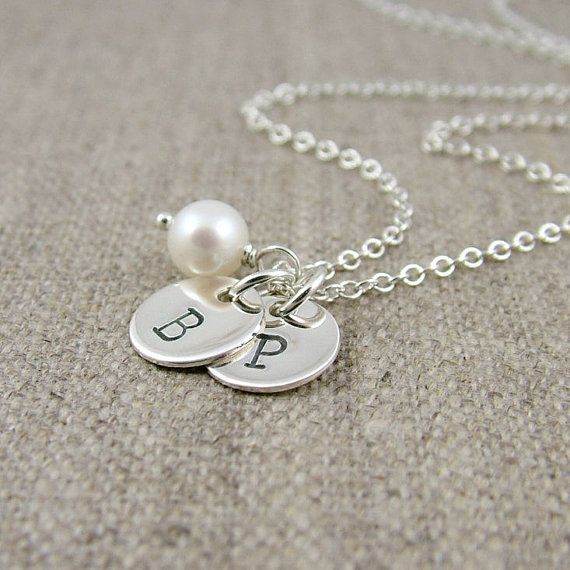 Two Initial Necklace, Sterling Silver Double  Stamped Initials, Freshwater Pearl - Best Friends Necklace, Mothers, Couples, Sisters via Etsy