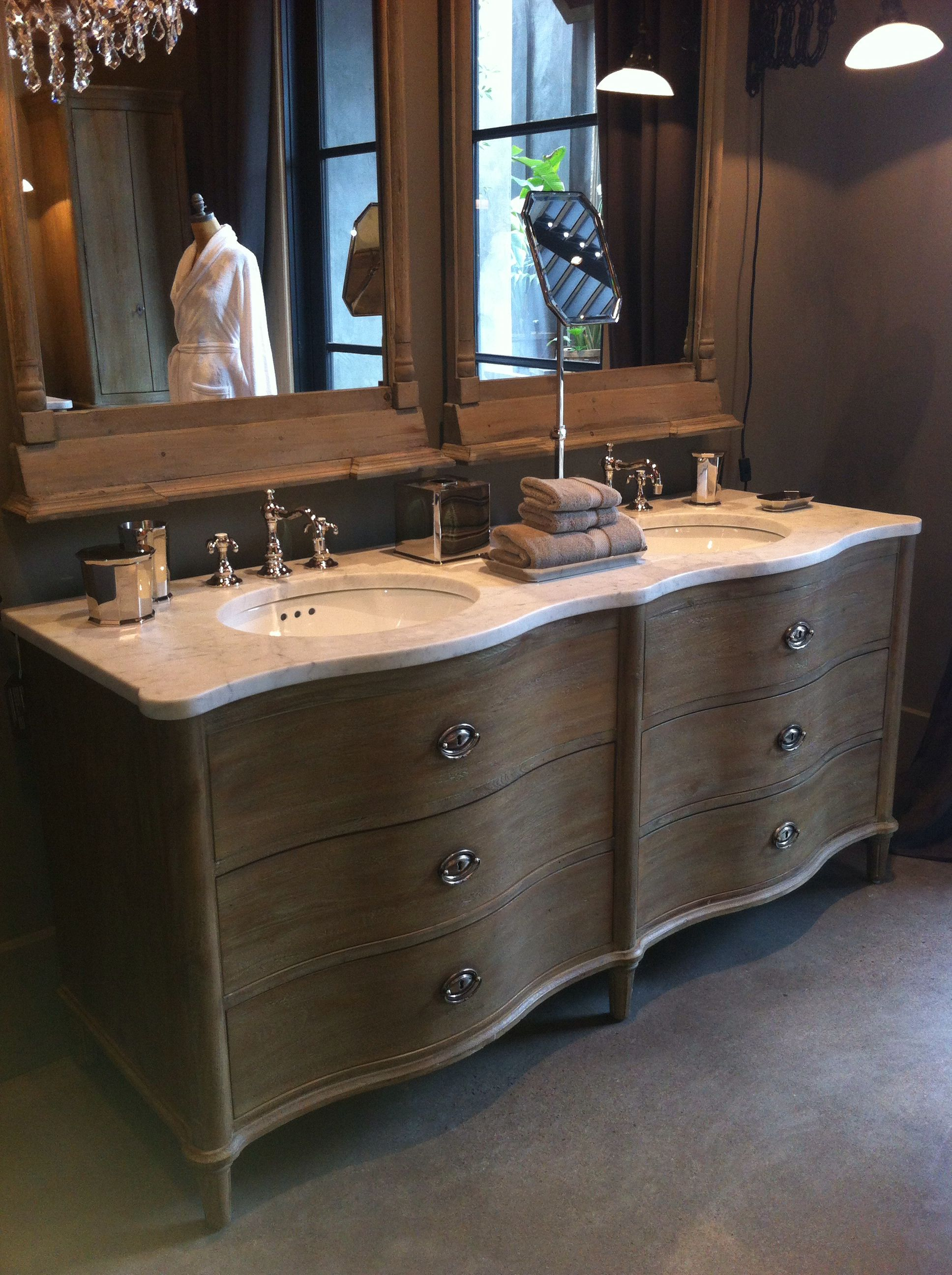 sink mirrored bathroom pottery vanity potterybarn reclaimed for bedroom restoration hardware l ideas barn cabinet wood vanities design with double