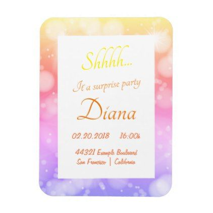 Colorful gold surprise birthday party invitation magnet birthday colorful gold surprise birthday party invitation magnet birthday gifts party celebration custom gift ideas diy filmwisefo Choice Image