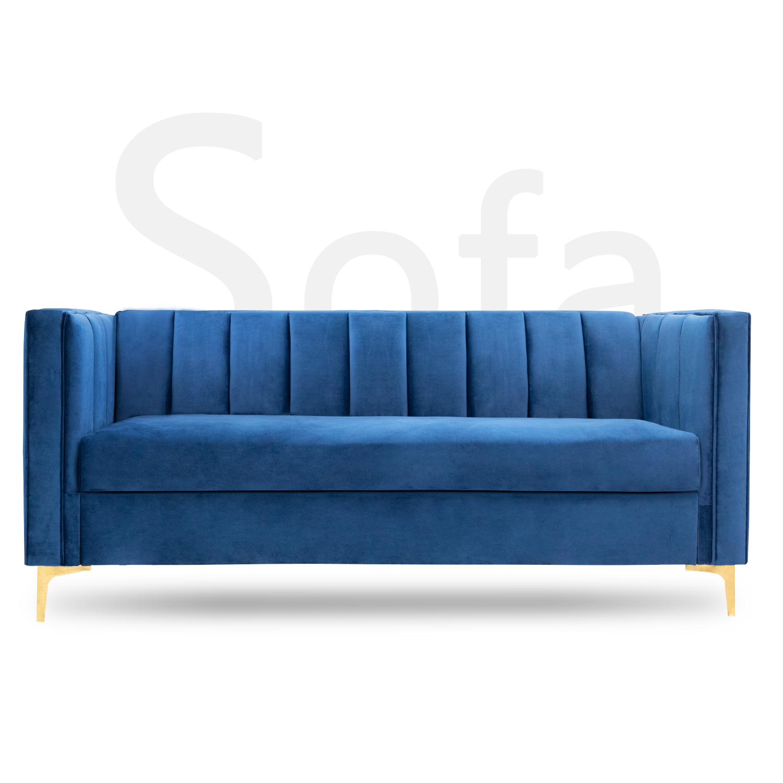 Walnew 71 Velvet Square Upholstered Sofa With Armrest Living Room Couch Navy Blue Walmart Com Upholstered Sofa Couches Living Room Sofa