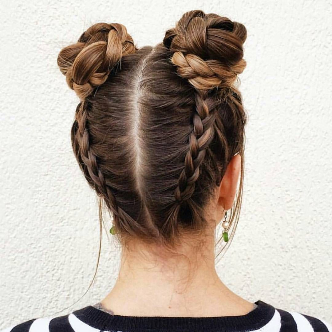 Braided Space Buns Adorable X With Images Long Hair Styles Hair Styles Girl Hairstyles