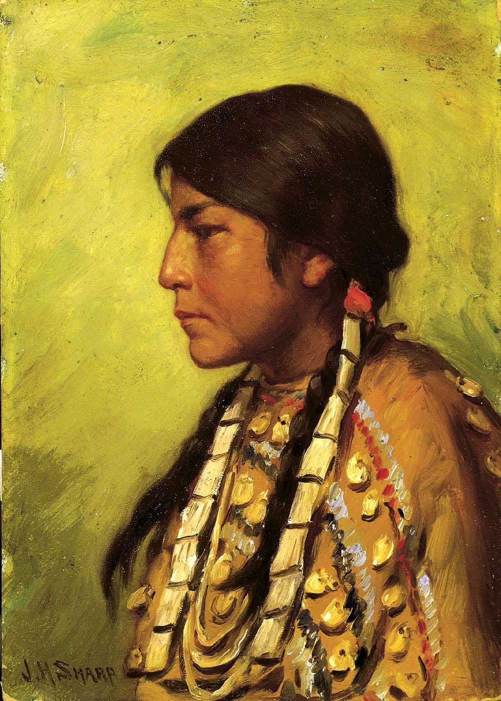 American indian portrait artists blackfoot girl by