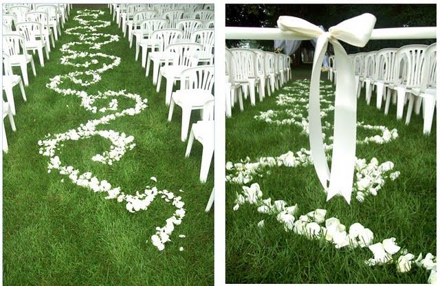 """LOVELY ~ aisle """"runner"""", and large sash/bow blocking entrance before the bride come in..."""