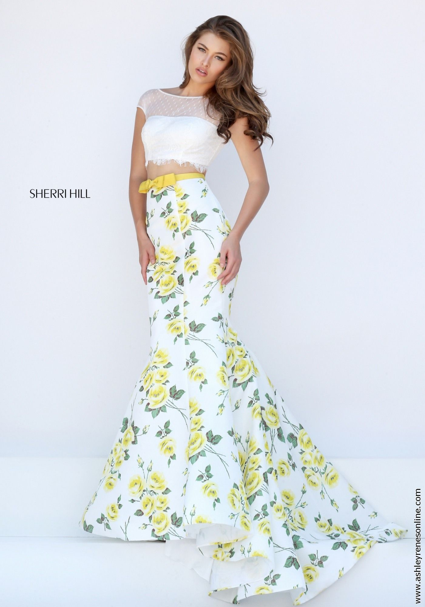 14eac42bc7b Sherri Hill yellow floral prom dress at Ashley Rene s Elkhart