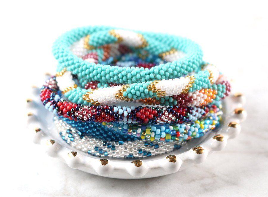 Nepal Glass Beaded Bracelets Blues Nepal Beads And Bracelets