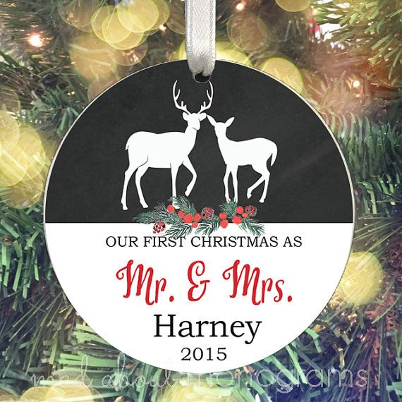 Hey, I found this really awesome Etsy listing at https://www.etsy.com/listing/255366108/deer-mr-mrs-christmas-ornament