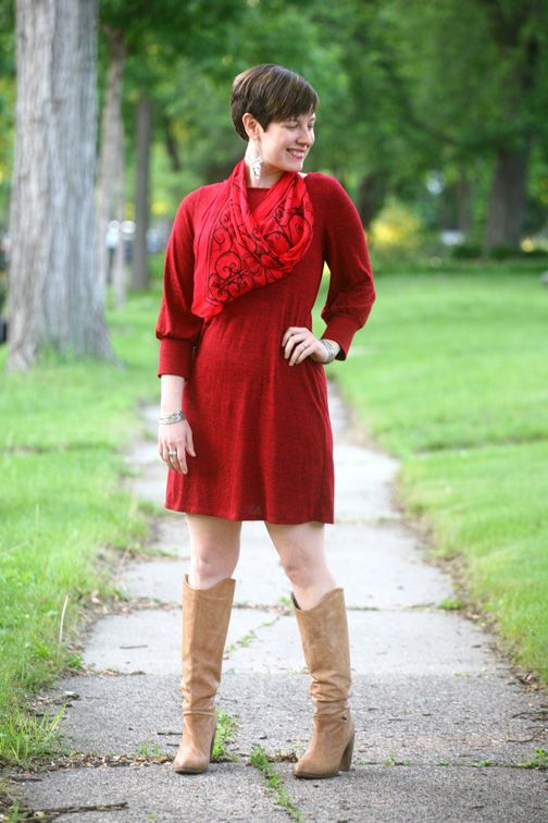 4101f5cd4aa65 Already Pretty outfit featuring vintage silk scarf, vintage red sweater  dress, Diesel Go-go boots