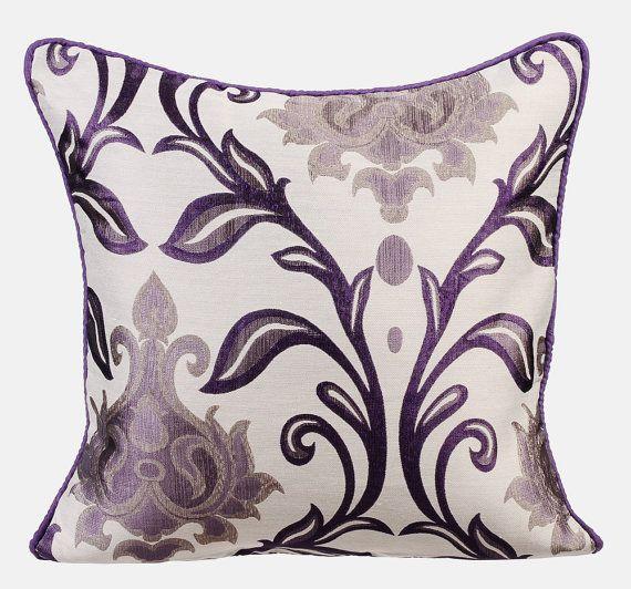 Uf194a Deep Purple Paisley Leaf sur Beige Velours Style Coussin Housse//taie d/'oreiller